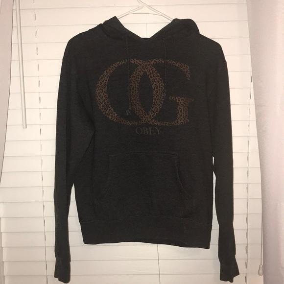 Size M Dark Grey and Cheetah Print Obey Sweatshirt